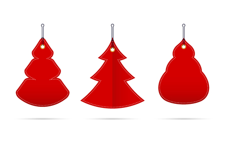 Vector Red Blank Sale Tags in the Form of Christmas Trees of Different Shapes. Merry Christmas, Happy New Year Design Elements for Creating Postcards, Calendars or Posters, Presentations or Banners.