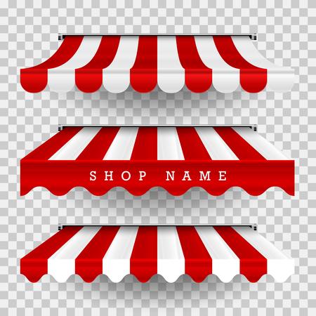 Serie de toldos comerciales. Vector Pop Up Store. Toldos a rayas de diferentes formas con sombras sobre un fondo transparente a cuadros. Elemento de diseño para carteles, pancartas, publicidad.