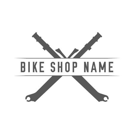 Bikes Shop Emblem. Design Element for Bike Shop or Advertising Banner. Crossed Forks and Place for Your Bike Shop Name, Monochrome Vector Illustration. Illustration