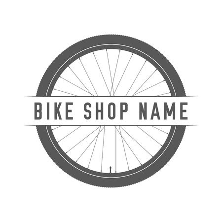 Emblème de la boutique de vélos. Élément de design pour magasin de vélos ou bannière publicitaire. Silhouette de roue de vélo et lieu pour votre nom de magasin de vélo, illustration vectorielle monochrome.