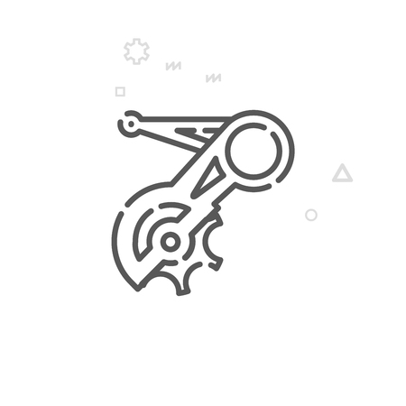 Bike Rear Derailleur Vector Line Icon. Bicycle Spare Part Symbol, Pictogram, Sign. Light Abstract Geometric Background. Editable Stroke. Adjust Line Weight. Design with Pixel Perfection.