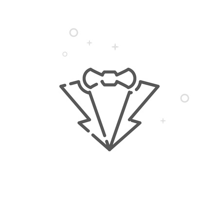 Grooms Suit, the Tuxedo Vector Line Icon. Wedding Symbol, Pictogram, Sign. Light Abstract Geometric Background. Editable Stroke. Adjust Line Weight. Design with Pixel Perfection. Иллюстрация