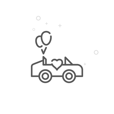 Wedding Carriage Vector Line Icon. Wedding Car, Cabrio Symbol, Pictogram, Sign. Light Abstract Geometric Background. Editable Stroke. Adjust Line Weight. Design with Pixel Perfection.
