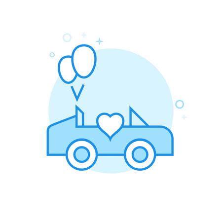 Wedding Carriage, Car Flat Vector Icon, Symbol, Pictogram, Sign. Light Blue Monochrome Design. Editable Stroke