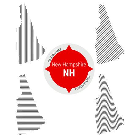 Carte vectorielle à motifs hachurés du New Hampshire. Silhouette simple stylisée du New Hampshire. Quatre modèles différents. Illustration isolée sur fond blanc. Vecteurs