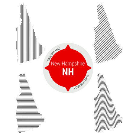 Hatched Pattern Vector Map of New Hampshire. Stylized Simple Silhouette of New Hampshire. Four Different Patterns. Illustration Isolated on White Background.