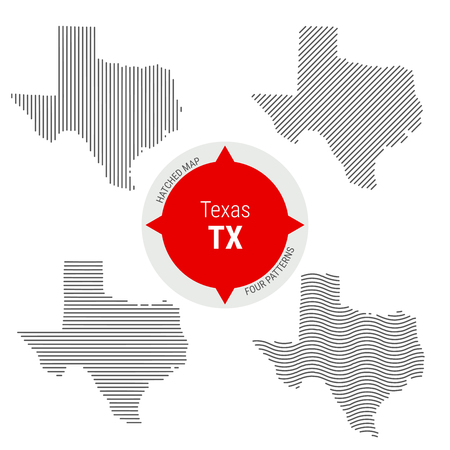 Hatched Pattern Vector Map of Texas. Stylized Simple Silhouette of Texas. Four Different Patterns. Illustration Isolated on White Background.