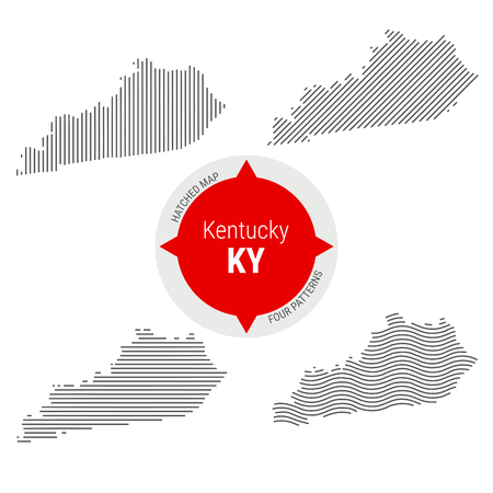 Hatched Pattern Vector Map of Kentucky. Stylized Simple Silhouette of Kentucky. Four Different Patterns. Illustration Isolated on White Background.