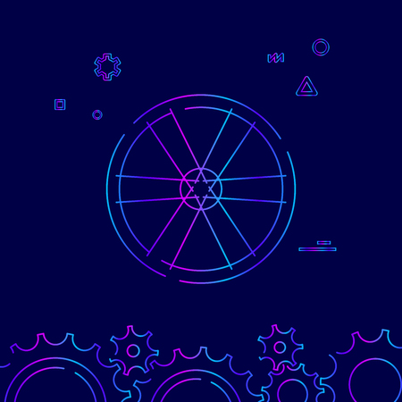 Bike or Bicycle Wheel Vector Line Icon, Symbol, Pictogram, Sign on a Dark Blue Background. Related Bottom Border