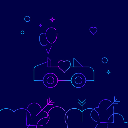 Wedding Carriage, Car Vector Line Icon, Symbol, Pictogram, Sign on a Dark Blue Background. Related Bottom Border