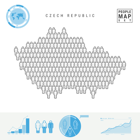 Czech Republic People Icon Map. People Crowd in the Shape of a Map of Czech. Stylized Silhouette of Czech. Population Growth and Aging Infographic Elements. Vector Illustration Isolated on White.