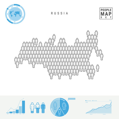 Russia People Icon Map. People Crowd in the Shape of a Russian Map. Stylized Silhouette of Russia. Population Growth and Aging Infographic Elements. Vector Illustration Isolated on White Background.
