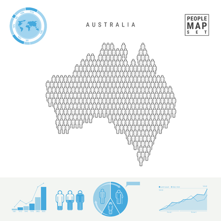Australia People Icon Map. People Crowd in the Shape of Australia Map. Stylized Silhouette of Australia. Population Growth and Aging Infographic Elements. Vector Illustration Isolated on White.