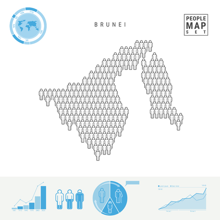 Brunei People Icon Map. People Crowd in the Shape of a Map of Brunei. Stylized Silhouette of Brunei. Population Growth and Aging Infographic Elements. Vector Illustration Isolated on White. Stock Illustratie