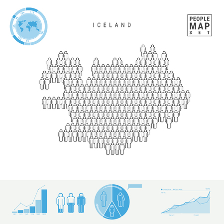 Iceland People Icon Map. People Crowd in the Shape of a Map of Iceland. Stylized Silhouette of Iceland. Population Growth and Aging Infographic Elements. Vector Illustration Isolated on White.