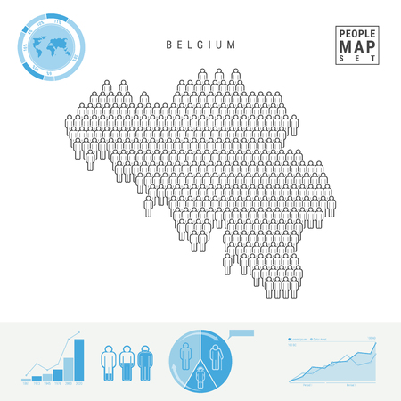 Belgium People Icon Map. People Crowd in the Shape of a Map of Belgium. Stylized Silhouette of Belgium. Population Growth and Aging Infographic Elements. Vector Illustration Isolated on White.