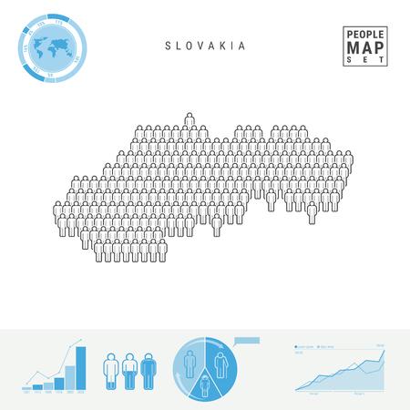 Mapa de iconos de personas de Eslovaquia. Multitud de personas en la forma de un mapa de Eslovaquia. Silueta estilizada de Eslovaquia. Elementos infográficos de crecimiento y envejecimiento de la población. Ilustración de vector aislado en blanco.