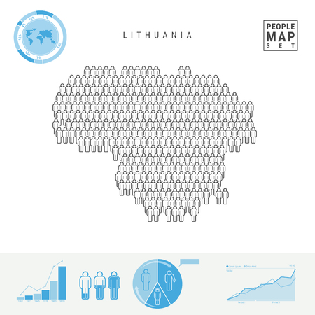 Lithuania People Icon Map. People Crowd in the Shape of a Map of Lithuania. Stylized Silhouette of Lithuania. Population Growth and Aging Infographic Elements. Vector Illustration Isolated on White.