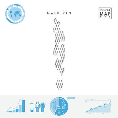 Maldives People Icon Map. People Crowd in the Shape of a Map of Maldives. Stylized Silhouette of Maldives. Population Growth and Aging Infographic Elements. Vector Illustration Isolated on White. Stock Illustratie