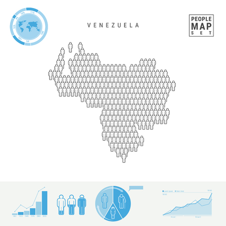 Venezuela People Icon Map. People Crowd in the Shape of a Map of Venezuela. Stylized Silhouette of Venezuela. Population Growth and Aging Infographic Elements. Vector Illustration Isolated on White.