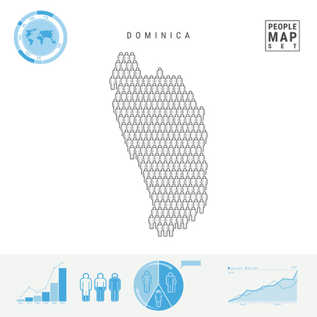 Dominica People Icon Map. People Crowd in the Shape of a Map of Dominica. Stylized Silhouette of Dominica. Population Growth and Aging Infographic Elements. Vector Illustration Isolated on White.