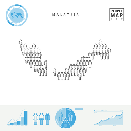 Malaysia People Icon Map. People Crowd in the Shape of a Map of Malaysia. Stylized Silhouette of Malaysia. Population Growth and Aging Infographic Elements. Vector Illustration Isolated on White.
