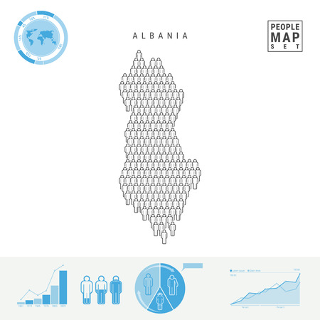 Albania People Icon Map. People Crowd in the Shape of a Map of Albania. Stylized Silhouette of Albania. Population Growth and Aging Infographic Elements. Vector Illustration Isolated on White.