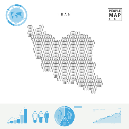 Iran People Icon Map. People Crowd in the Shape of a Map of Iran. Stylized Silhouette of Iran. Population Growth and Aging Infographic Elements. Vector Illustration Isolated on White.