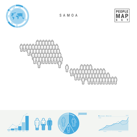 Samoa People Icon Map. People Crowd in the Shape of a Map of Samoa. Stylized Silhouette of Samoa. Population Growth and Aging Infographic Elements. Vector Illustration Isolated on White. 向量圖像