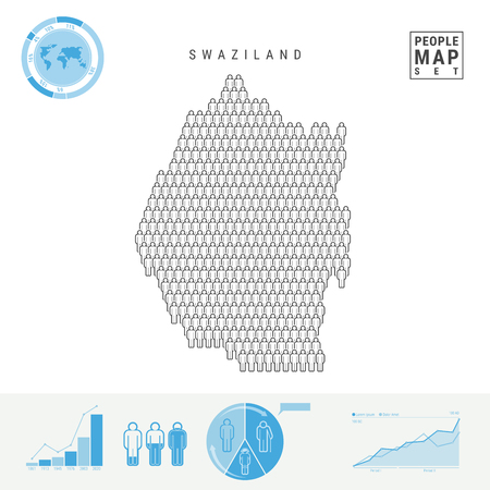 Swaziland People Icon Map. People Crowd in the Shape of a Map of Swaziland. Stylized Silhouette of Swaziland. Population Growth and Aging Infographic Elements. Vector Illustration Isolated on White.