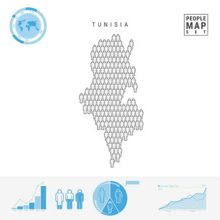Tunisia People Icon Map. People Crowd in the Shape of a Map of Tunisia. Stylized Silhouette of Tunisia. Population Growth and Aging Infographic Elements. Vector Illustration Isolated on White.
