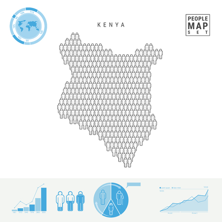 Kenya People Icon Map. People Crowd in the Shape of a Map of Kenya. Stylized Silhouette of Kenya. Population Growth and Aging Infographic Elements. Vector Illustration Isolated on White. Stock Illustratie