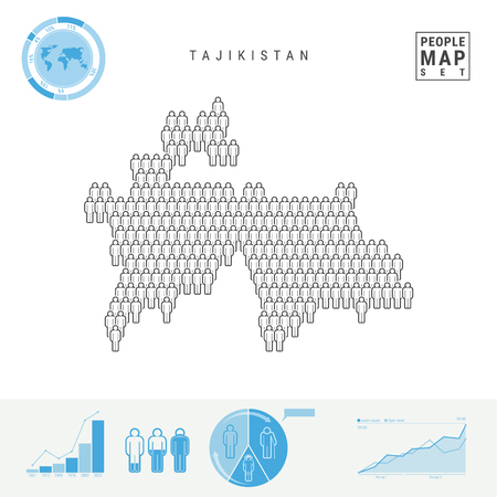 Tajikistan People Icon Map. People Crowd in the Shape of a Map of Tajikistan. Stylized Silhouette of Tajikistan. Population Growth, Aging Infographic Elements. Vector Illustration Isolated on White. Vector Illustratie