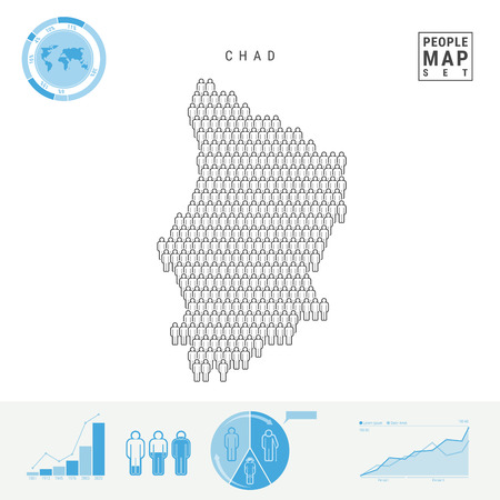 Chad People Icon Map. People Crowd in the Shape of a Map of Chad. Stylized Silhouette of Chad. Population Growth and Aging Infographic Elements. Vector Illustration Isolated on White. Stock Illustratie