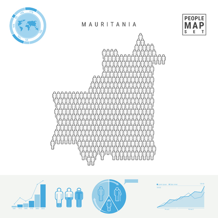 Mauritania People Icon Map. People Crowd in the Shape of a Map of Mauritania. Stylized Silhouette of Mauritania. Population Growth, Aging Infographic Elements. Vector Illustration Isolated on White.