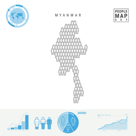 Myanmar People Icon Map. People Crowd in the Shape of a Map of Myanmar. Stylized Silhouette of Burma. Population Growth and Aging Infographic Elements. Vector Illustration Isolated on White.
