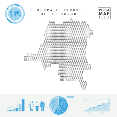 Democratic Republic of the Congo People Icon Map. People Crowd in the Shape of a Map of DR Congo. Stylized Silhouette. Population Growth and Aging Infographics. Vector Illustration Isolated on White. Illustration