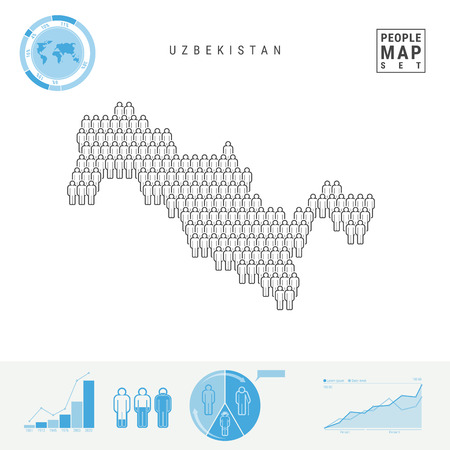 Uzbekistan People Icon Map. People Crowd in the Shape of a Map of Uzbekistan. Stylized Silhouette of Uzbekistan. Population Growth, Aging Infographic Elements. Vector Illustration Isolated on White.