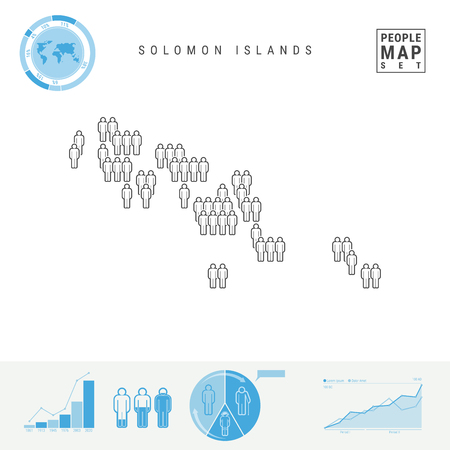 Solomon Islands People Icon Map. People Crowd in the Shape of a Map of Solomon Islands. Stylized Silhouette. Population Growth and Aging Infographic Elements. Vector Illustration Isolated on White.