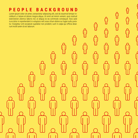 Group of People. Bright Yellow Vector People Crowd Background Made of Simple Line Icons. Space for Text with an Example of Typesetting. 向量圖像