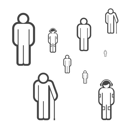 People of Different Ages Vector Icons. Group of People Made of Simple Line Icons. Young, Adult, Old. Teenager in Headphones Listening to Music.