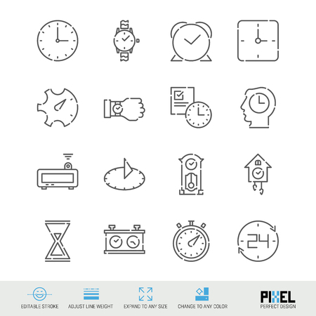 Vector Line Icon Set. Time Related Linear Icons. Clock Symbols, Pictograms, Signs