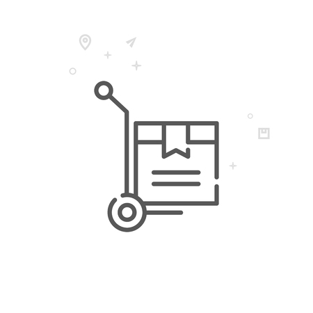 Warehouse Cart Vector Line Icon, Symbol, Pictogram, Sign. Light Abstract Geometric Background. Editable Stroke Illustration