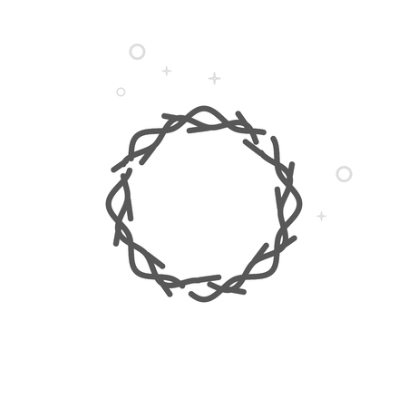 Crown of Thorns Vector Line Icon, Symbol, Pictogram, Sign. Light Abstract Geometric Background. Editable Stroke