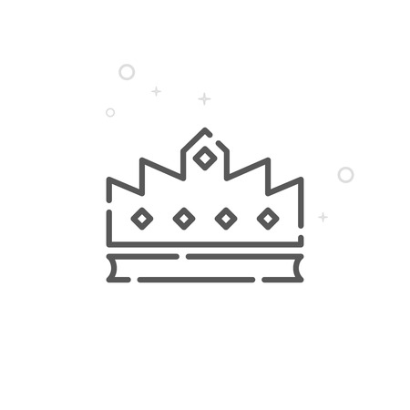 Royal Crown Vector Line Icon, Symbol, Pictogram, Sign. Light Abstract Geometric Background. Editable Stroke