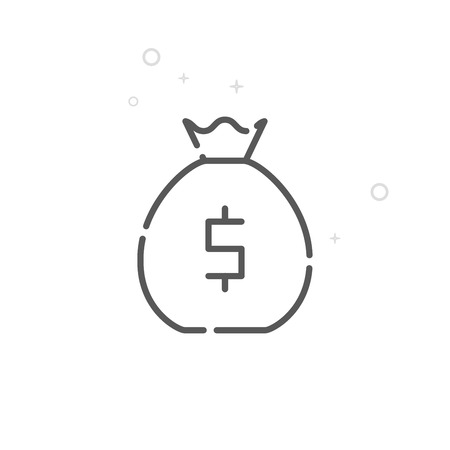 Money Prize Vector Line Icon. Bag with Money, Lottery Winnings Symbol, Pictogram, Sign. Light Abstract Geometric Background. Editable Stroke. Adjust Line Weight. Design with Pixel Perfection.