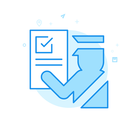 Icône de vecteur plat de dédouanement. Symbole d'agent des douanes, pictogramme, signe. Style plat léger. Conception monochrome bleue. Course modifiable. Ajustez l'épaisseur de ligne. Concevez avec Pixel Perfection.