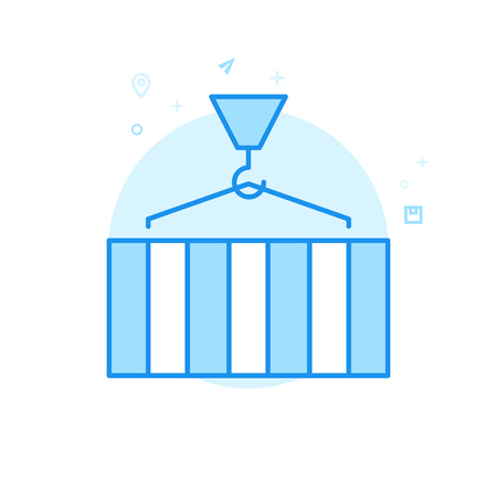 Cargo Container Loading Flat Vector Icon. Crane Symbol, Pictogram, Sign. Light Flat Style. Blue Monochrome Design. Editable Stroke. Adjust Line Weight. Design with Pixel Perfection.