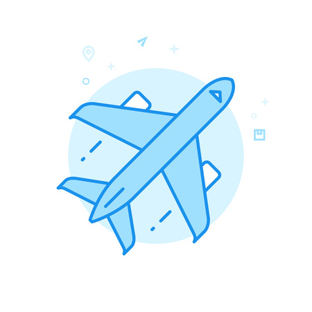 Airplane Flat Vector Icon. Air Freight, Aircraft Symbol, Pictogram, Sign. Light Flat Style. Blue Monochrome Design. Editable Stroke. Adjust Line Weight. Design with Pixel Perfection. Illustration