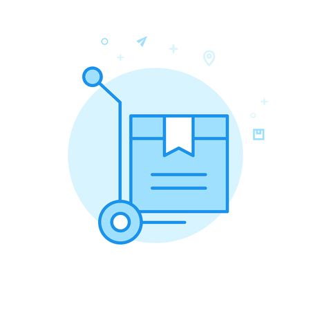 Warehouse Cart Flat Vector Icon. Delivery Box Symbol, Pictogram, Sign. Light Flat Style. Blue Monochrome Design. Editable Stroke. Adjust Line Weight. Design with Pixel Perfection.